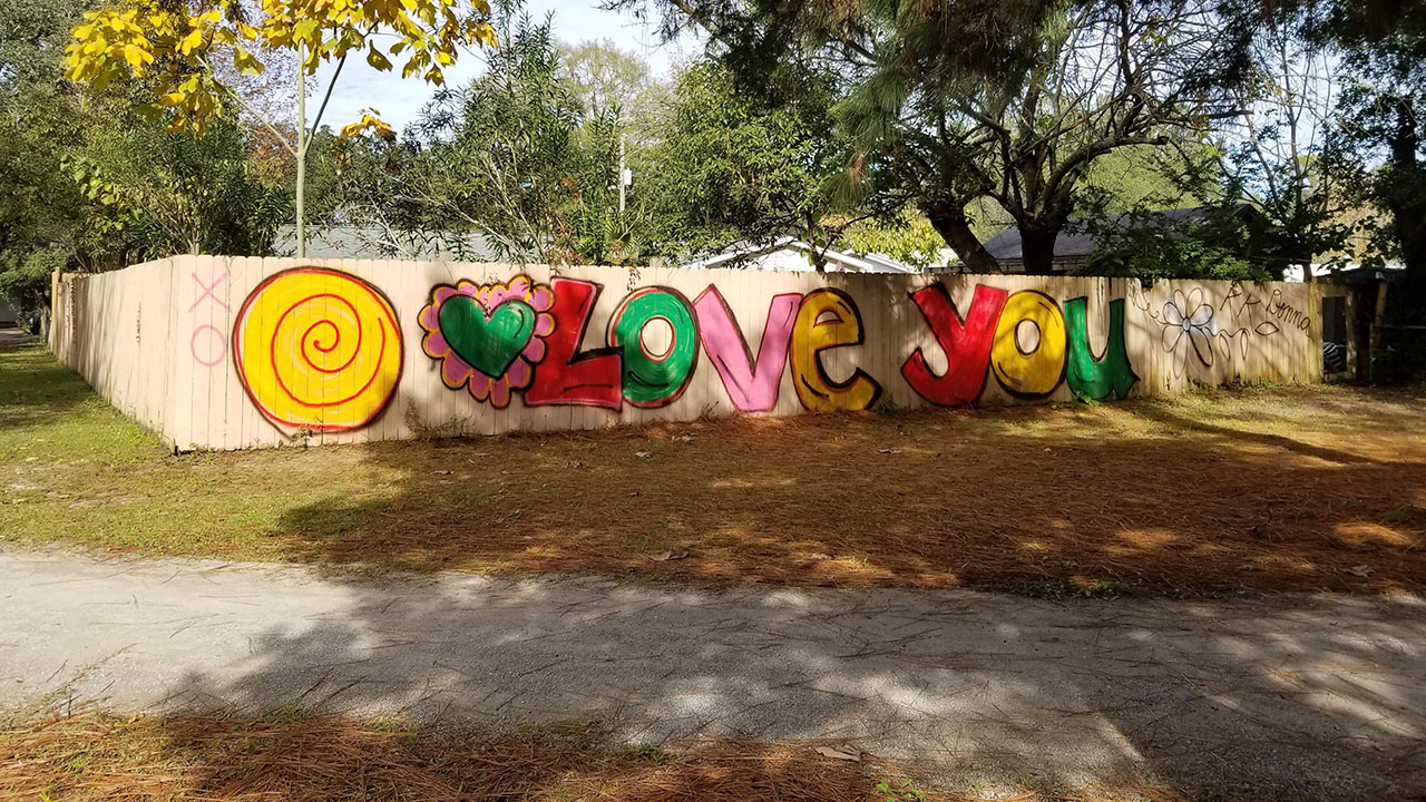 """Love you"" was painted over graffiti at local park"
