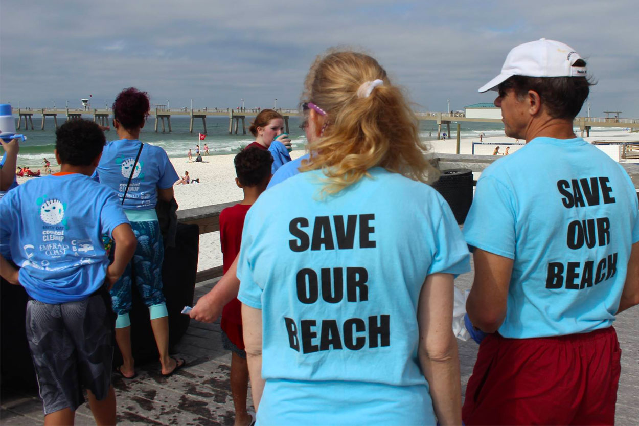Beach cleanup at The Boardwalk on Okaloosa Island